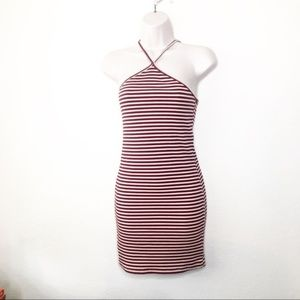 UO Silence + Noise Bodycon Halter Dress S Striped